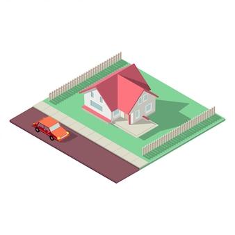 Isometrisches haus auf weißem hintergrund. haus-, immobilien- oder mietkonzeptillustration. privathaus in isometrischer perspektive. niedrige poly bunte gebäude.