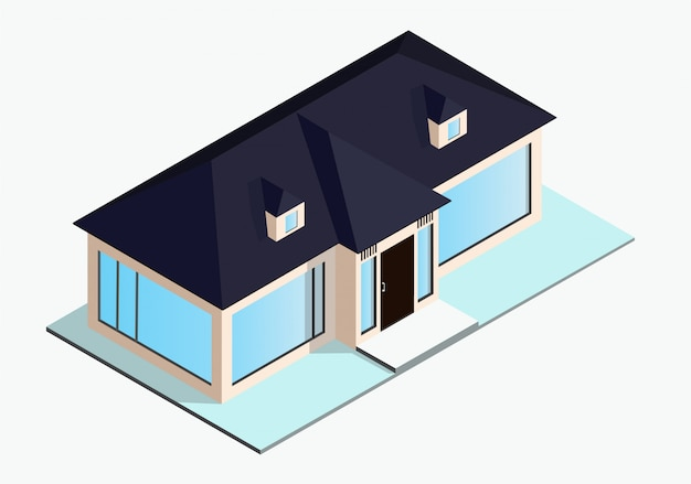 Isometrisches haus mit blauem dach