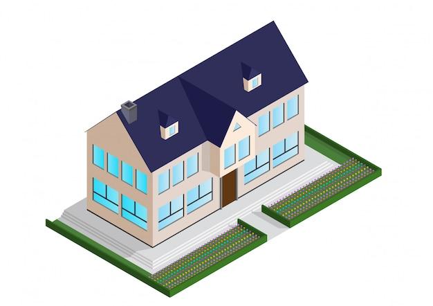 Isometrisches haus mit einem blauen dach