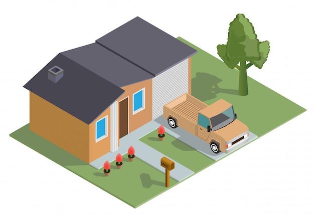Isometrisches haus mit einem geparkten auto