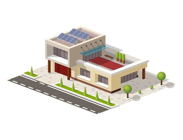 Isometrisches high-tech-haus mit sonnenkollektoren