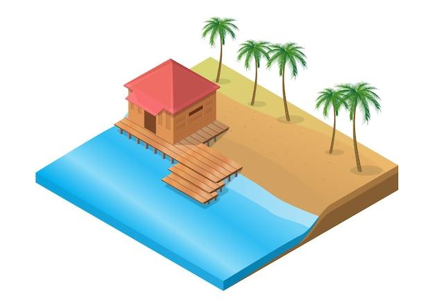 Isometrisches hölzernes tropisches resort am strand mit palme