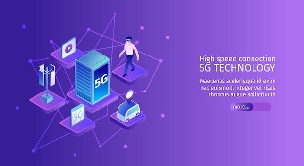 Isometrisches horizontales 5g internet-banner mit molekülförmigen bildern von netzwerkelementen mit text- und schaltflächenillustration