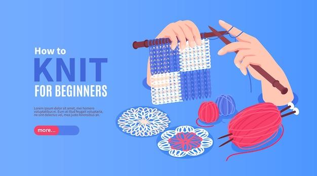 Isometrisches horizontales strickbanner mit händen, die nadeln und schlaufen mit bearbeitbarem text und mehr knopf halten