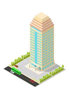 Isometrisches hotel, apartment, büro oder wolkenkratzergebäude