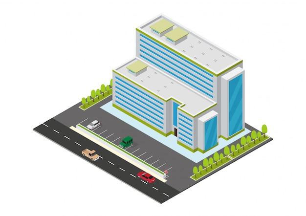 Isometrisches hotel, apartment oder wolkenkratzergebäude