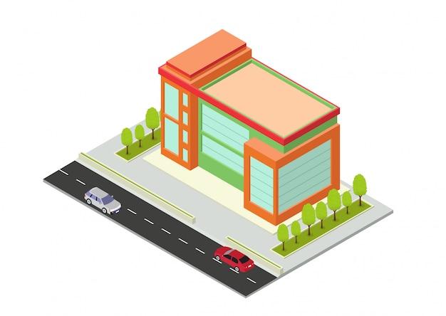 Isometrisches hotel, apartment, schule oder wolkenkratzergebäude