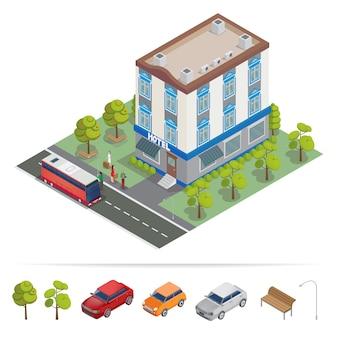 Isometrisches hotel. hotelgebäude. reiseindustrie.