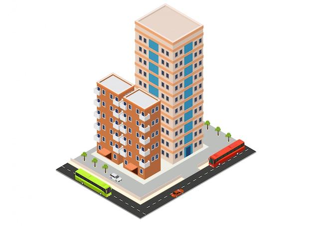 Isometrisches hotel oder wolkenkratzergebäude