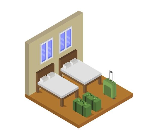 Isometrisches hotelzimmer