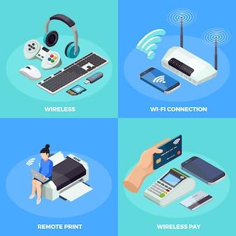 Isometrisches ikonen-quadrat der drahtlosen technologie 4 Kostenlosen Vektoren