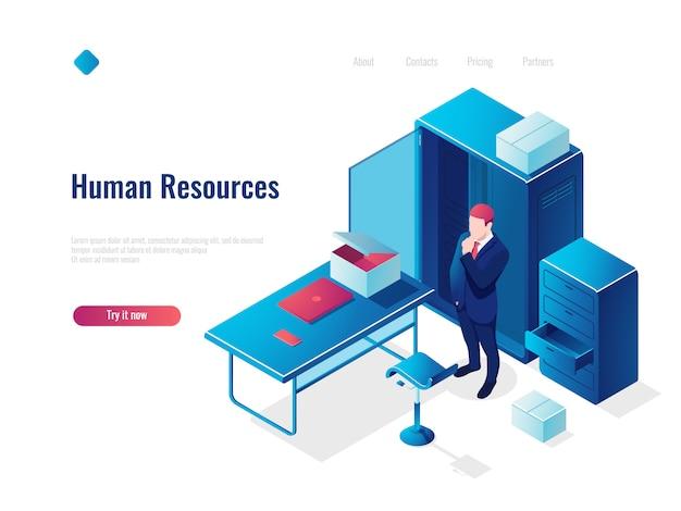 Isometrisches ikonenkonzept der personalwesen-hr, beschäftigung, büro innerhalb des innenraums, tabelle mit stuhl