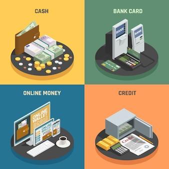 Isometrisches ikonenquadrat der zahlungsmethoden 4 mit den bargeldkreditbankkarten und on-line-transaktionen lokalisiert