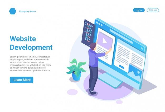 Isometrisches illustrationskonzept der webentwicklung und des webdesigns für website und bewegliche website, zielseitenschablone