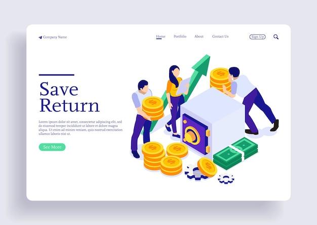 Isometrisches illustrationskonzept geld mit charakteren investieren und sparen