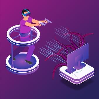 Isometrisches illustrationsspiel in der virtuellen realität