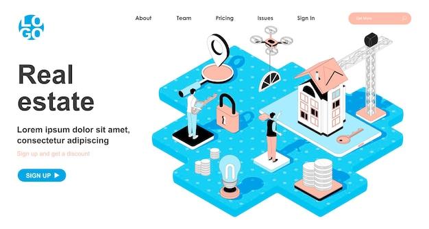 Isometrisches immobilienkonzept im 3d-design für landing page