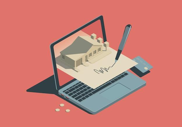 Isometrisches immobilienkonzept mit laptop und unterzeichnungsdokument