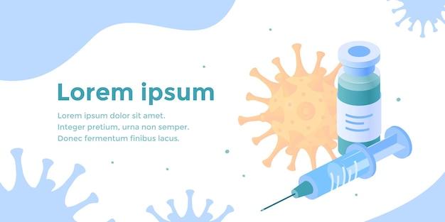 Isometrisches impfstoffkonzept mit spritzenplakat