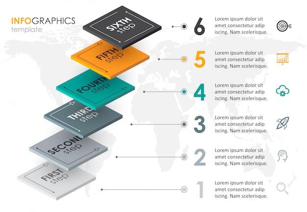 Isometrisches infografik-design mit 6 optionen, stufen oder schritten. infografiken für geschäftskonzept.