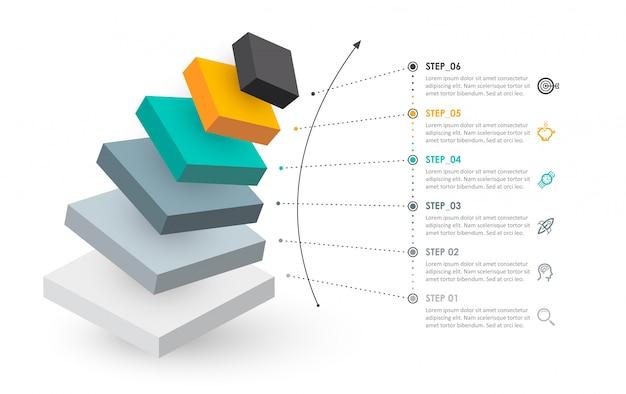 Isometrisches infografik-design mit symbolen und 6 optionen für ebenen oder schritte. infografiken für geschäftskonzept.