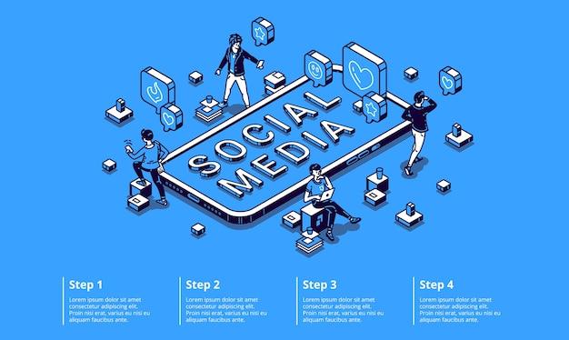 Isometrisches infografik-konzept für soziale medien mit winzigen zeichen unter verwendung von gadgets, die am computer arbeiten