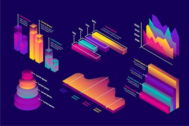 Isometrisches infografik-sammlungskonzept