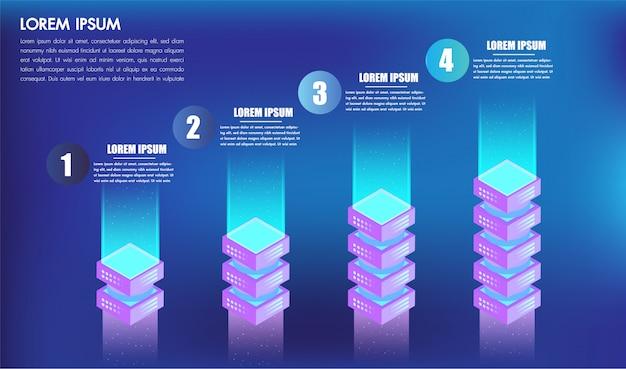 Isometrisches infographics design 4 wahlhebel oder -schritte für kästen des geschäftskonzept-erfolgs 3d