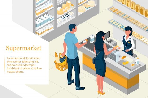 Isometrisches innendesign eines supermarkts. regale mit produkten