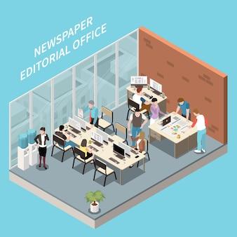 Isometrisches interieur der zeitungsredaktion und des personals bei der arbeit 3d-illustration
