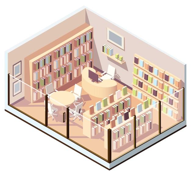 Isometrisches interieur des buchladens oder der bibliothek. illustration