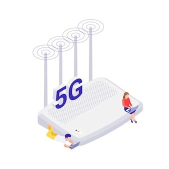 Isometrisches internet 5g-technologiesymbol mit router und menschen mit laptops auf weißer hintergrundvektorillustration