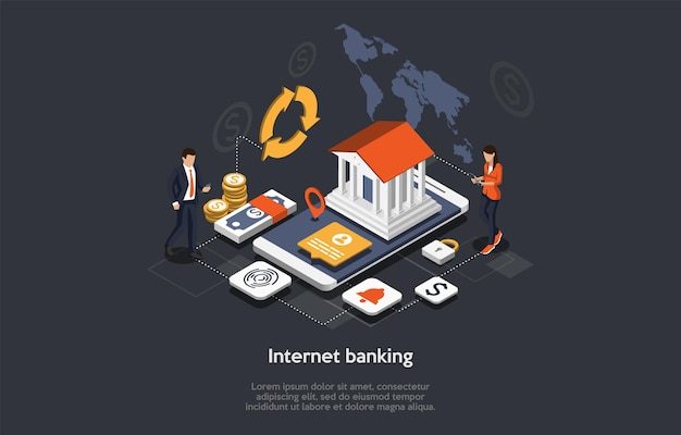 Isometrisches internet-banking-konzept. menschen verwenden mobile banking-anwendung. online-zahlungssicherheitstransaktion. business-charaktere überweisen geld online, leisten zahlungen. karikatur-vektor-illustration.