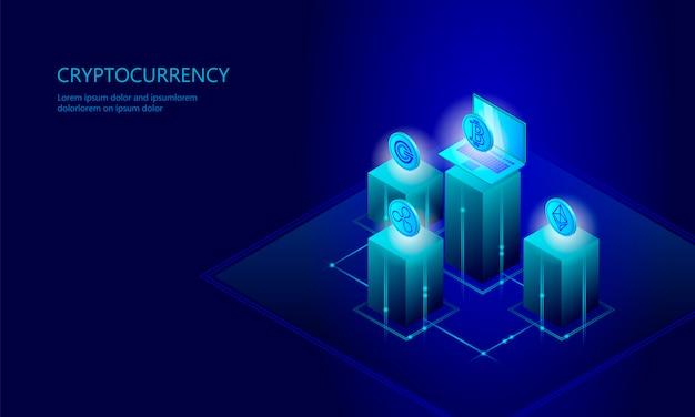 Isometrisches internet-cryptocurrency-münzengeschäftskonzept, blaues glühen