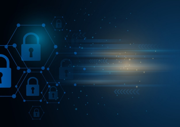 Isometrisches internet-sicherheitsschloss-geschäftskonzept.