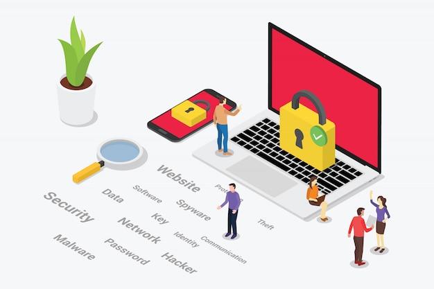 Isometrisches internetsicherheitskonzept mit teamleuten