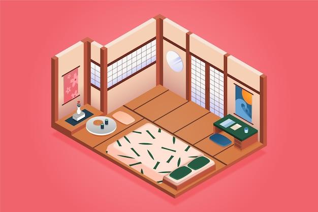 Isometrisches japanisches zimmer mit futon