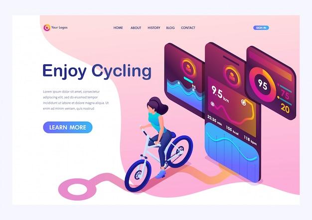Isometrisches junges mädchen auf fahrrad, eine bewegliche app spürt das training, das gps-signal auf.