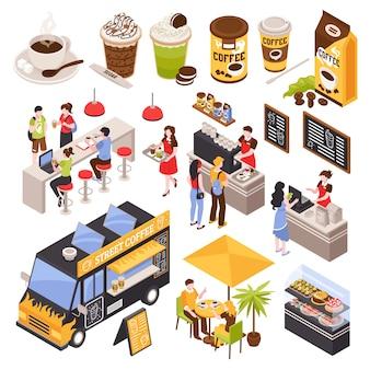 Isometrisches kaffeehaus barista stellte mit lokalisiertem barzähler der menschlichen charaktere mit sitzmenü und -schalen ein