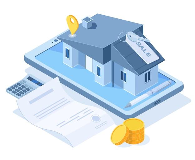 Isometrisches kauftraumhauskonzept, immobilienagenturservice. immobilienkauf, süßes zuhause, das vektorillustration kauft. smartphone-app für den immobilienkauf. hausbau mieten