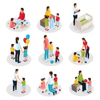 Isometrisches kindermädchen-arbeitsset