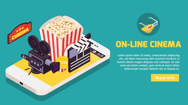 Isometrisches kino mit konzept der smartphone-illustration