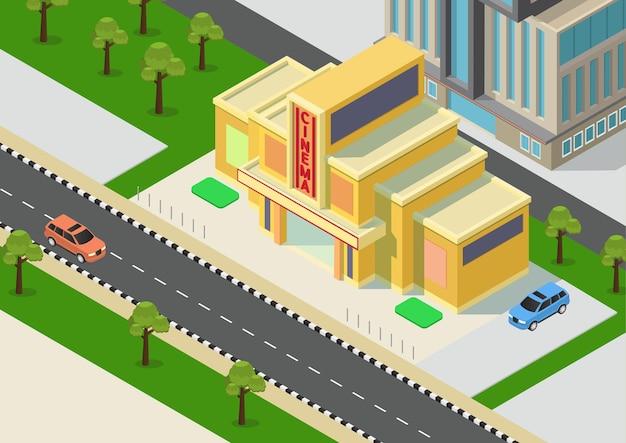 Isometrisches kinogebäude mit straße und bäumen