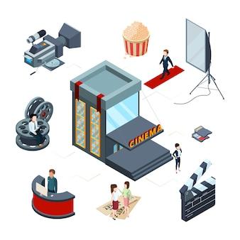 Isometrisches kinokonzept. 3d-illustration der filmproduktion