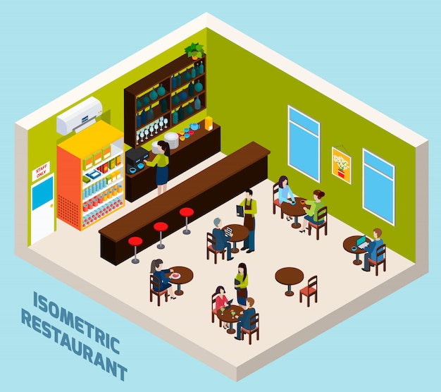 Isometrisches kompositions-plakat des restaurant-bar-innenraums