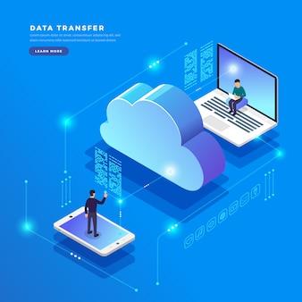 Isometrisches konzept cloud-technologie datenübertragung und -speicherung. verbindungsinformationen. abbildungen.