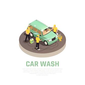 Isometrisches konzept der autowaschanlage mit symbolen für den autowaschdienst