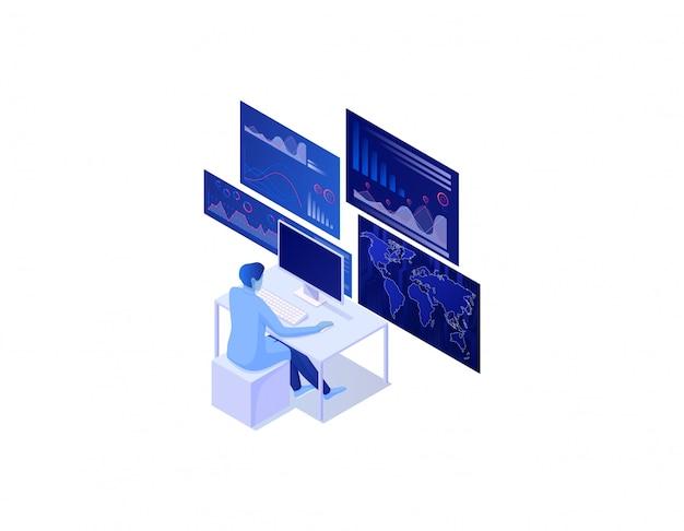 Isometrisches konzept der big data-analyse. globale reichweiteninformationsanalyse, seo-datumswellendiagramme.