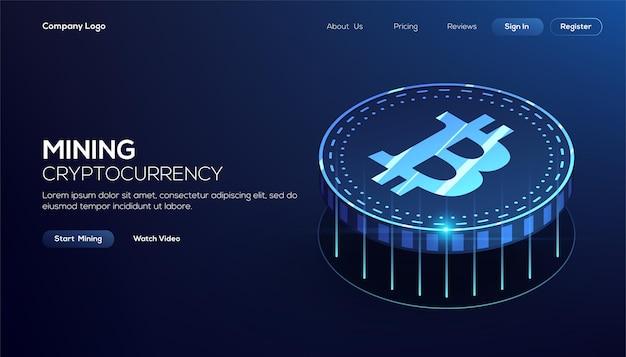Isometrisches konzept der blauen bitcoin-blockchain-technologie