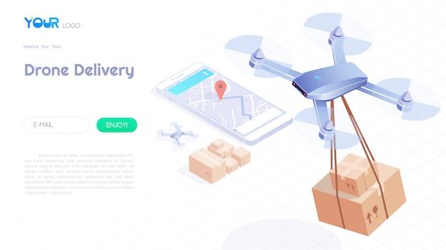 Isometrisches konzept der brummenlieferung, schnelle lieferung, automatisiertes quadcopter, das über karte fliegt und dem kunden für netzschablone ein paket trägt. vektor-illustration.